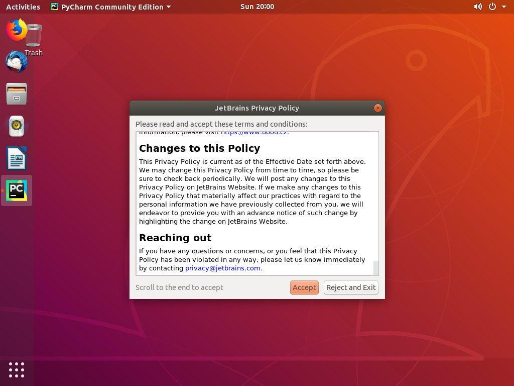 Конфиденциальность Ubuntu PyCharm