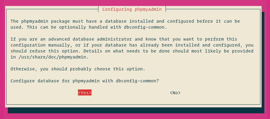 настройка базы данных phpmyadmin