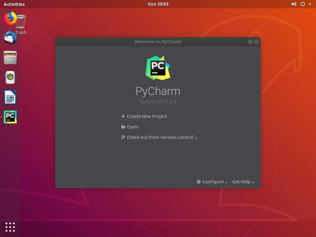 Новый проект Ubuntu PyCharm