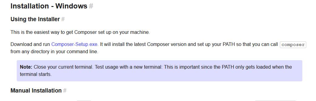 Качаем инсталлятор Composser на официальном сайте