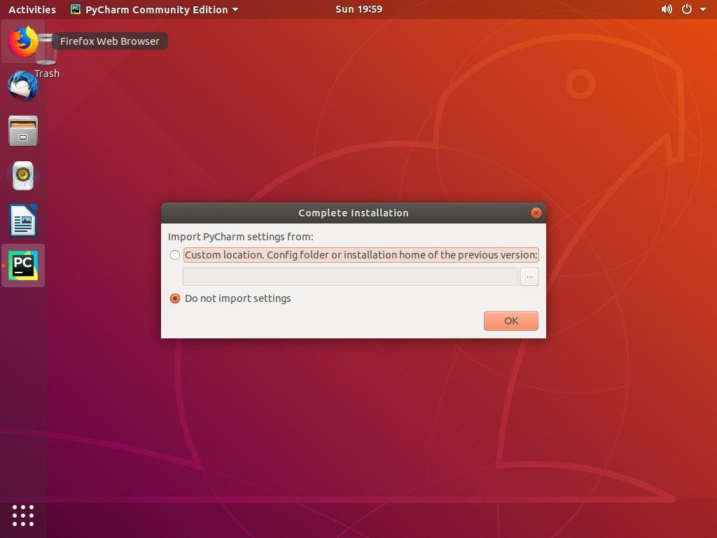 Настройки Ubuntu PyCharm