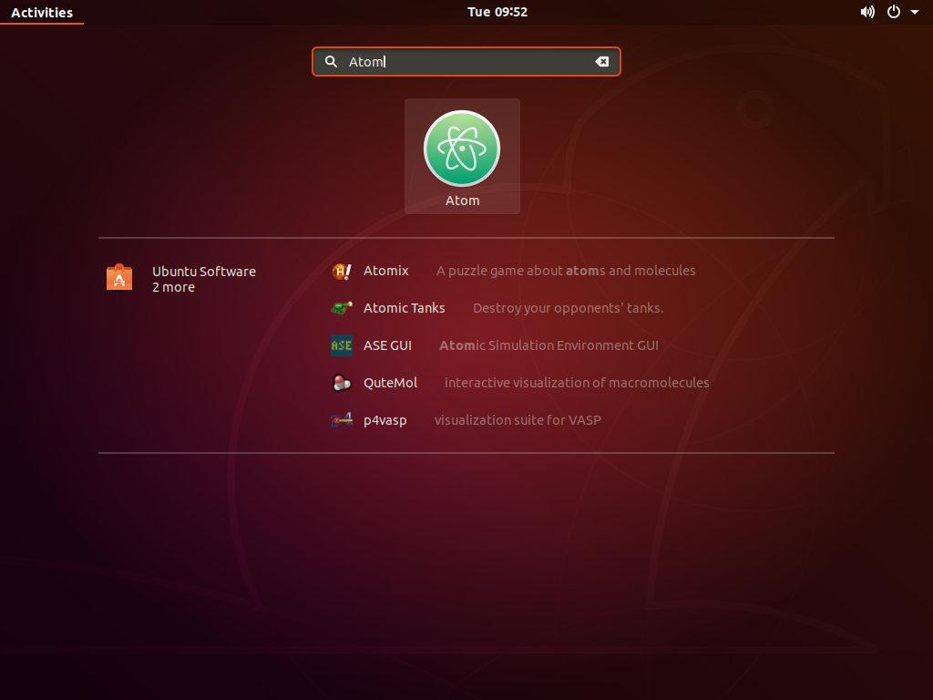 Ubuntu Запустить Atom
