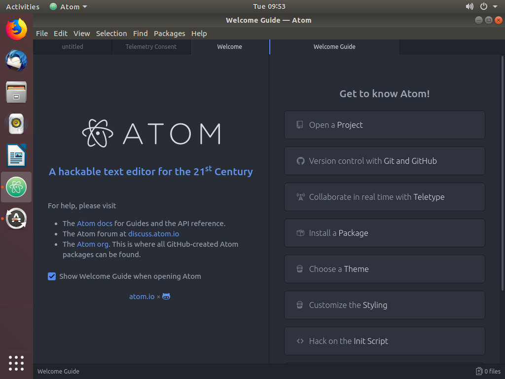 Текстовый редактор Ubuntu Atom