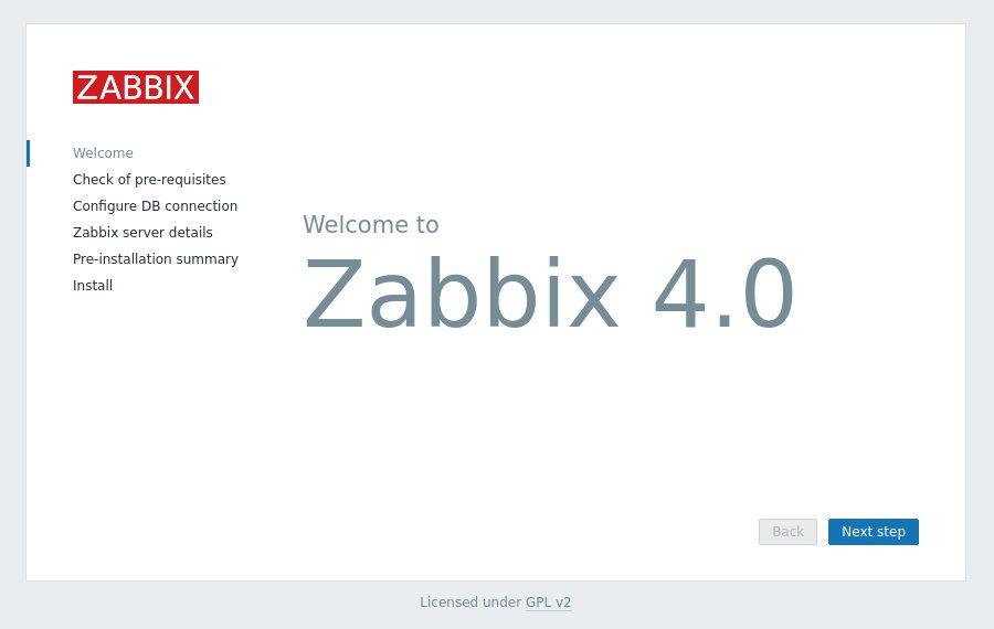 Экран приветствия Zabbix