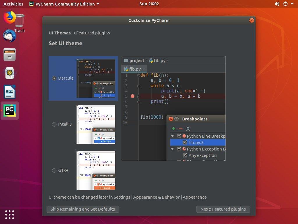 Ubuntu PyCharm Настроить