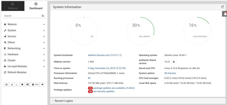 Панель управления Webmin
