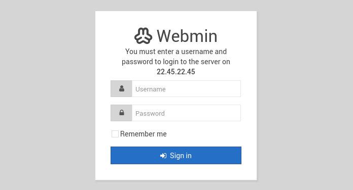 Форма входа в Webmin